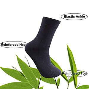 Mens Breathable Bamboo Business Crew Dress Socks 6-Pack (Shoe size 7-11, Black)