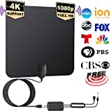 [2019 Latest ] HD Digital TV Antenna Long 100 Miles Range - Support 4K 1080p and All Older TV's Indoor Powerful HDTV Amplifier Signal Booster - 13.5ft Coax Cable