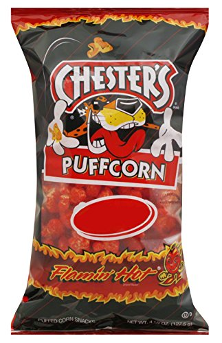 Chester's Flamin' Hot Flavored Puffcorn Snacks, 4.5oz Bags (Pack of 12) ()