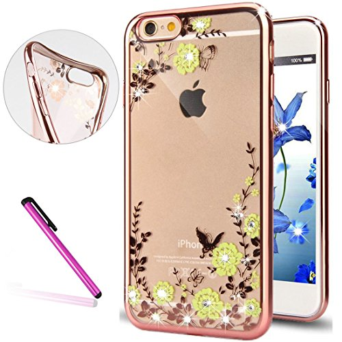 iPhone 6S Hülle Silicone,iPhone 6S Hülle Glitzer,iPhone 6 Hülle Rosa,EMAXELERS iPhone 6S Hülle Bling TPU Bumper Case Soft Silikon Gel Schutzhülle Hülle für iPhone 6 4.7 Zoll,iPhone 6S Hülle Glitzer Di Butterfly Flower Series 5