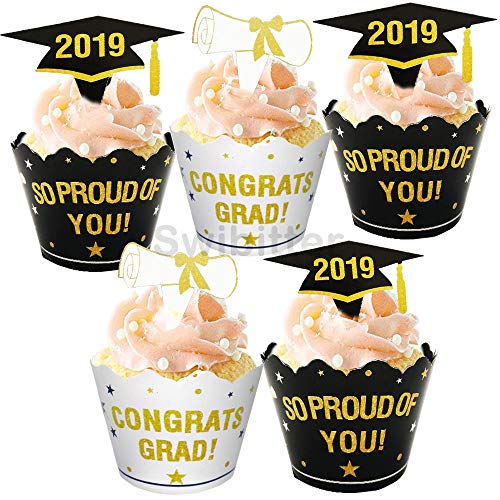 Graduation Cupcake Wrappers and Toppers - Graduation Party Supplies - 24Set (48Pcs) Black Gold Cupcake Liners for Class of 2019 Congrats Grad Party Birthday Party Decoration Gift Giving