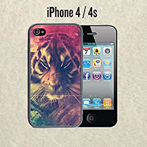 iPhone Case Cute Galactic Tiger Zoom Effect for iPhone 4 /4s Plastic Black (Ships from CA)