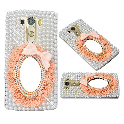 Spritech(TM) Clear Hard Bling Phone Case for LG G Stylo 2 LS775/LG Stylus 2 K520,Handmade White Crystal Pink Flower Mirror Accessary Design Cellphone Cover Heart Briolette Pendant