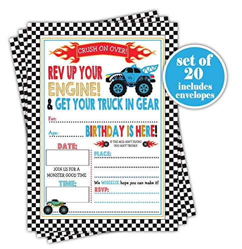 Monster Truck Birthday Party Invitations - Set of 20 with envelopes