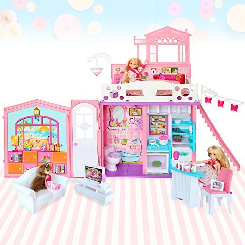Galleon - Dream Doll House 2 Story House With Furniture And