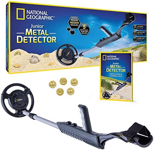 "NATIONAL GEOGRAPHIC Junior Metal Detector for Kids with 7.5"" Waterproof Dual Coil, Adjustable Lightweight Design for Treasure Hunting Beginners, Includes 5 Replica Gold Doubloon,"