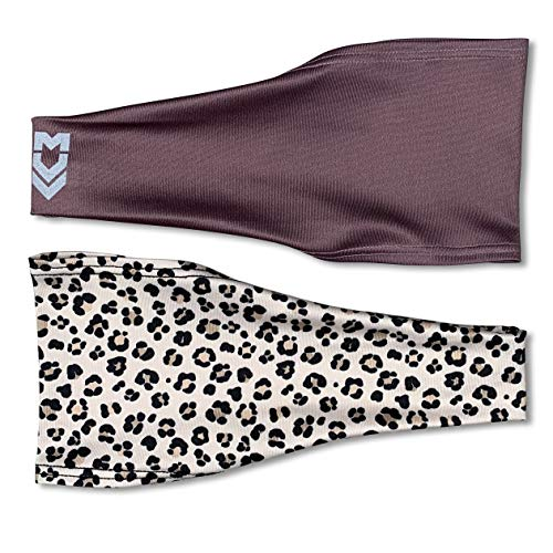 MUV365 Headbands for Women | Workout, Running, Yoga, Wide Sports Head Bands | Headband Protects with SPF 50+, Keeps Sweat from Dripping in Eyes & is Non-Slip (One Size Fits Most, Leopard + Purple) ()