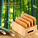 Charging Station, LEVIN Natural Bamboo Charging Station Rack Dock Organizer Eliminate Clutter for Smart Phones, Tablets and More
