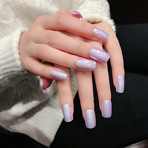 Amazon.com : CoolNail Holo Chameleon Pink False Nails Tips Reflective Metallic Mirror Abalone Square Fake Nail Full Cover Fuax Ongles : Beauty