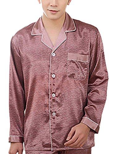 Yiwa Mens Luxury Charmeuse Pajama Thread Decoration Sleepwear Suit by Yiwa (Image #3)