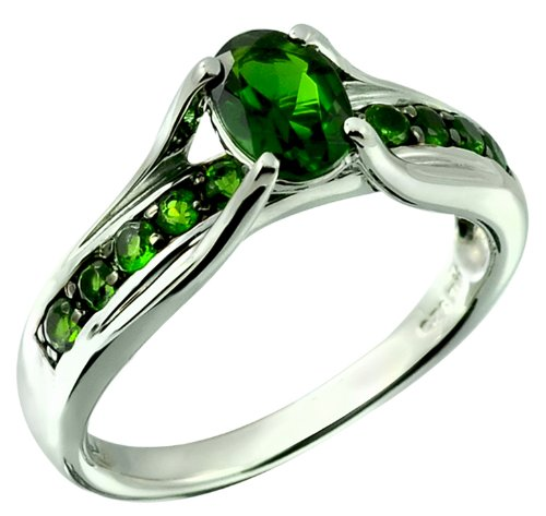 [Chrome Diopside 1.41cts Sterling Silver Ring (6)] (Black Star Diopside Ring)