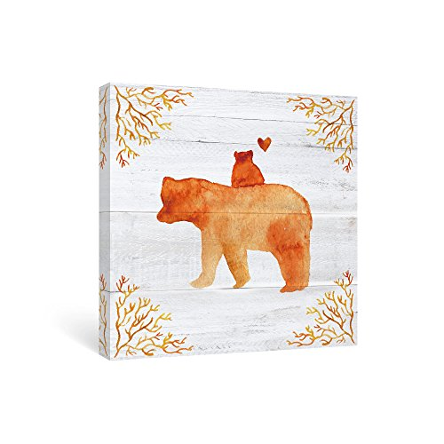 SUMGAR Bear Wall Art for Kids Room Orange Animal Canvas Paintings of Mother and Cub Home Decor, Best Baby Boy Gifts, Cute Girl Gifts, 12x12in