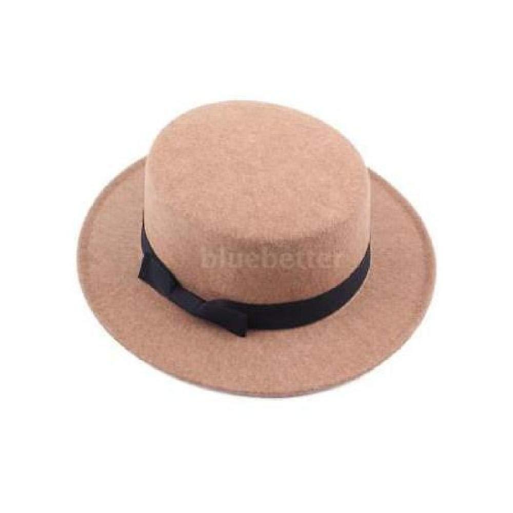 Unisex Classic Felt Pork Pie Porkpie Hat Cap Upturn Brim Black Ribbon Bandl