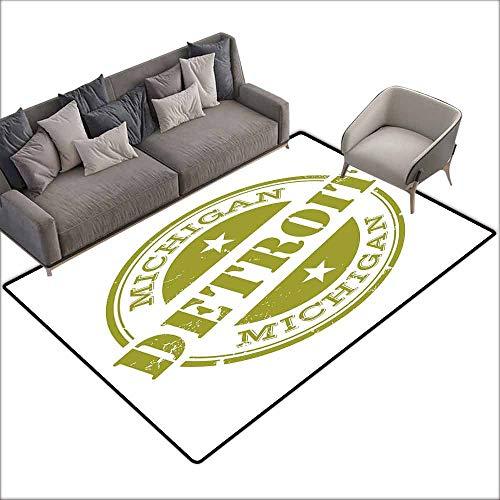 Indoor/Outdoor Rubber Mat Detroit Decor,Aged Grunge Detroit Michigan Stamp Design with Stars Tourism Travel,Olive Green White 36
