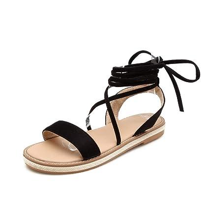 Fashion Ladies Damen Sandalen Flach Mit Schnürung Open Toe Sommer Bohemian Strand Schuhe Party Freizeit Hochzeit Abend