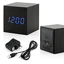 GEARONIC TM Wooden Alarm Clock, LED Square Cube Digital Alarm Thermometer Timer Calendar Updated 2018 Brighter LED -Black