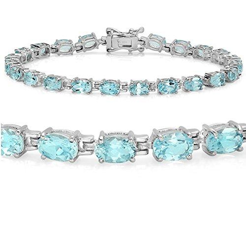 12ct Sky Blue Topaz Tennis Bracelet set in Sterling Silver 7 1/2 inch (Topaz Tennis Bracelet)