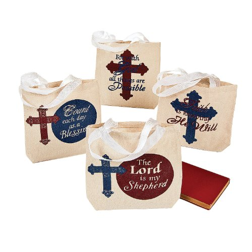 Religious Canvas Tote Bags (Religious Canvas Tote Bags, 8 x 8-Inch with 5 1/2-Inch, (1 Dozen))