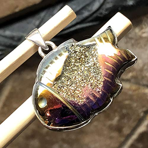 Natural Rainbow Titanium Druzy 925 Solid Sterling Silver Fish Pendant 35mm Long ()