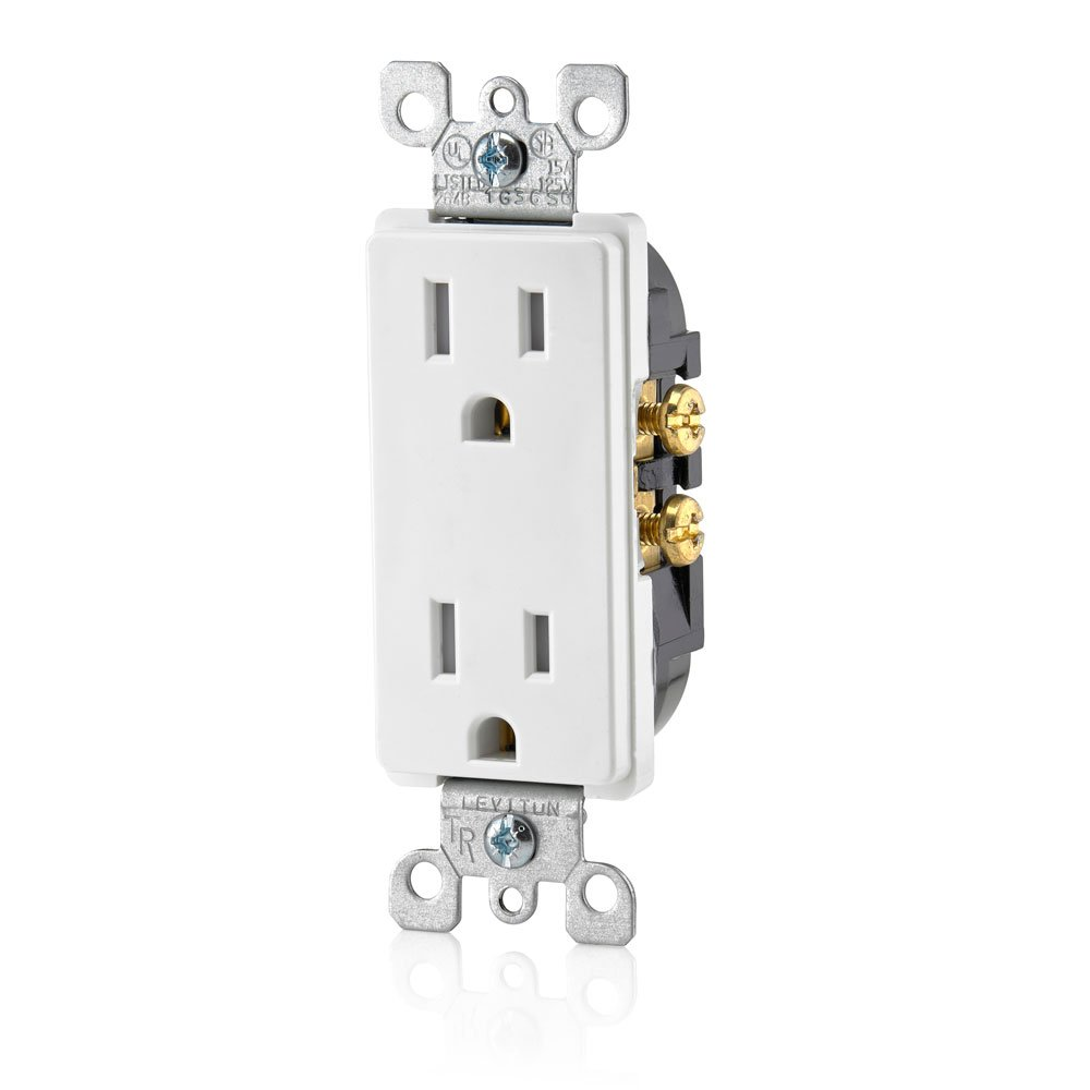 Leviton T5325 W 15 Amp 125 Volt Tamper Resistant Decora Duplex Wiring 3 Way Switch To Outlet Receptacle Straight Blade Grounding 1 Pack White Electrical Outlets