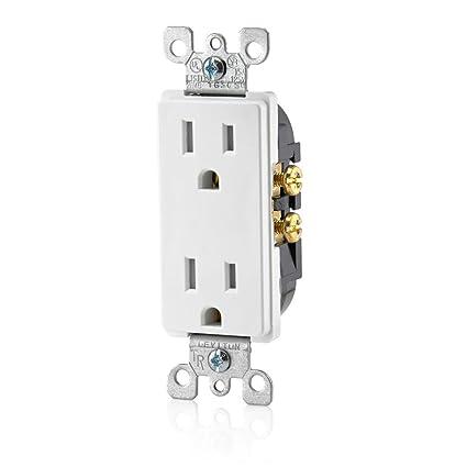 Leviton T5325-W 15 Amp 125 Volt, Tamper Resistant, Decora Duplex ...