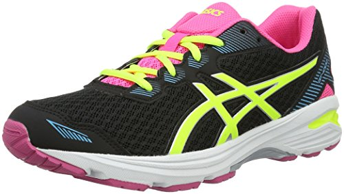 Asics Gt-1000 5 GS, Zapatillas de Gimnasia Unisex Niños Nero (Black/Safety Yellow/Pink Glow)