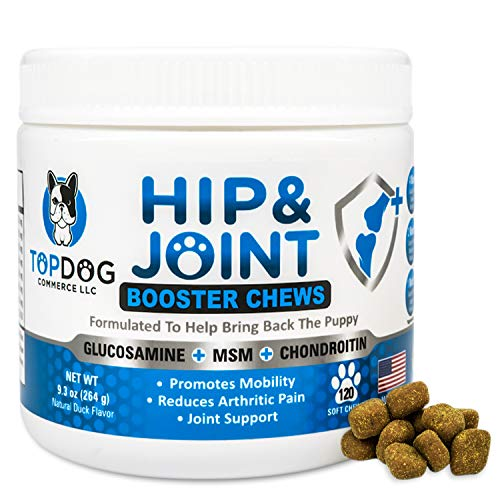 Glucosamine Chondroitin Soft Chewables for Dogs Turmeric, Arthritis Pain and Hip Dysplasia Treatment-Made in USA-Chicken Flavor-120 Chews