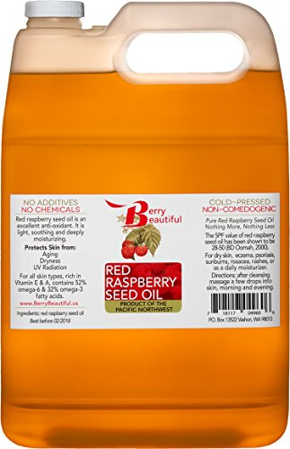 Red Raspberry Seed Oil – 1 Gallon 3.8L – Cold Pressed by Berry Beautiful from locally grown Raspberries – 100 Pure Unrefined
