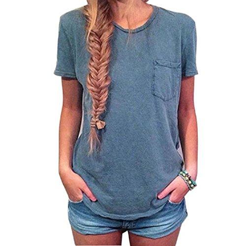 Trunks Dbz Costume (VESNIBA Fashion Women Summer Pocket Short Sleeve Shirt T-shirt Casual Blouse Top (XL, Blue))