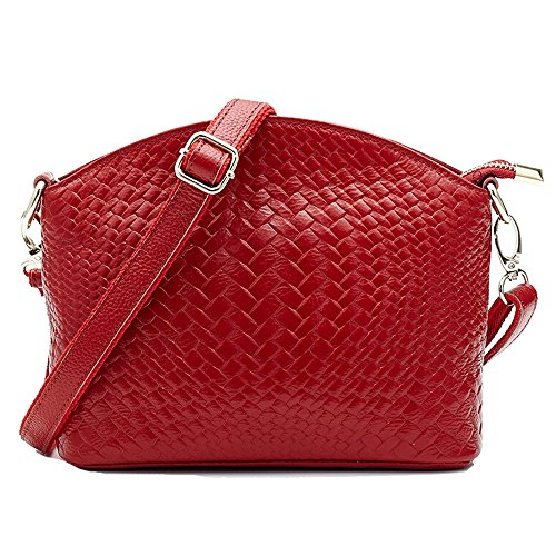 SEALINF Womens Genuine Leather Handbag Woven Shoulder Bag Cowhide Crossbody (Burgundy),9.1