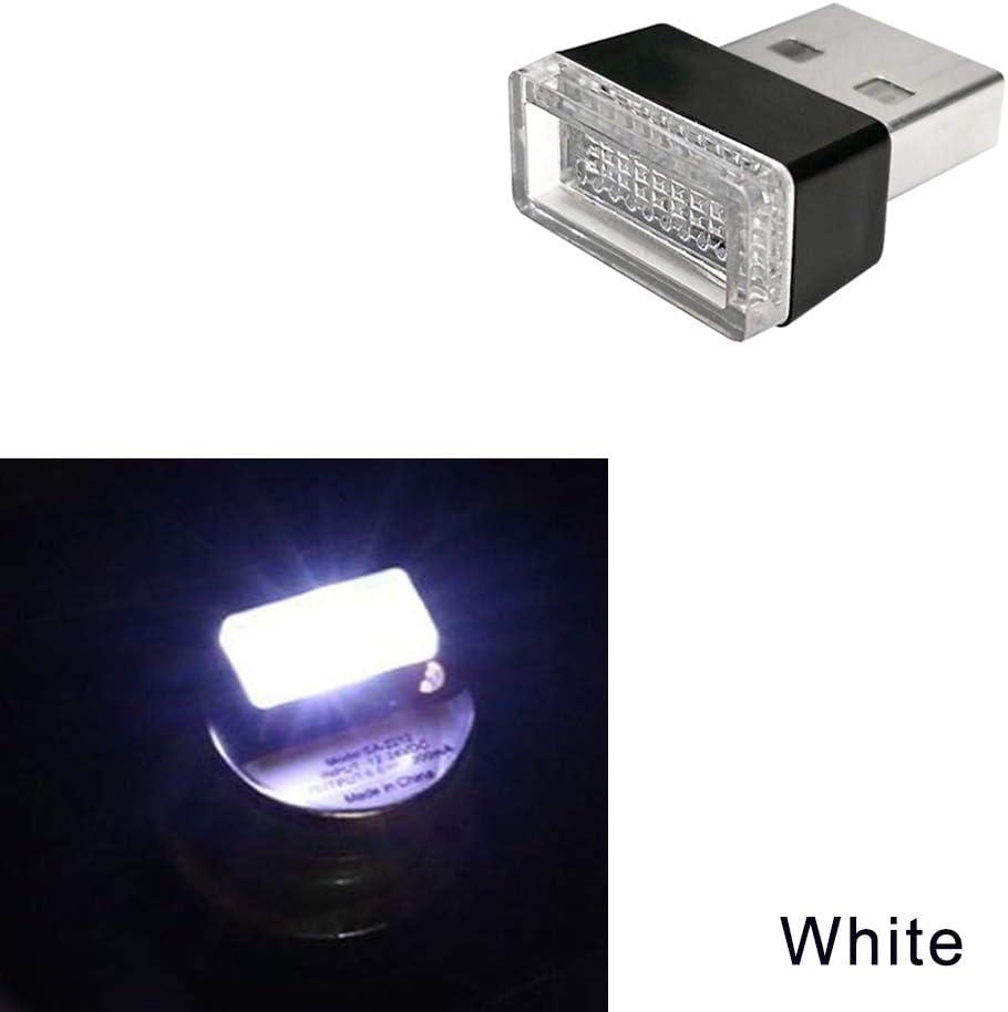Mini iluminaci/ón inal/ámbrica del Coche USB 6 Colores Luz USB Luz LED Universal 6 Colors, ABCDEF Ambiente de Luces USB Interiores del Coche Iluminaci/ón Interior del Coche USB