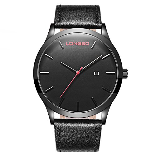 Dial Black Auto (LONGBO Mens Unique Black Leather Band Military Simple Big Face Watches Minimalism Black Dial Auto Date Wristwatches Sportive Waterproof Business Analog Quartz Watch for Man)