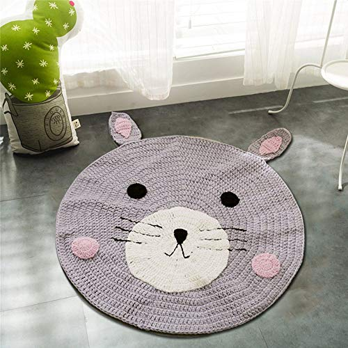 Round Rug,Baby Floor Mat Toys Storage Organizer,Nursery Rugs Large Cotton Anti-slip Cartoon Animal Game Mat Area for Kids Room Living Room, 31.5x31.5inch (Bear) by okdeals (Image #6)