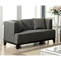 Furniture of America Waylin Tufted Fabric Loveseat in Gray
