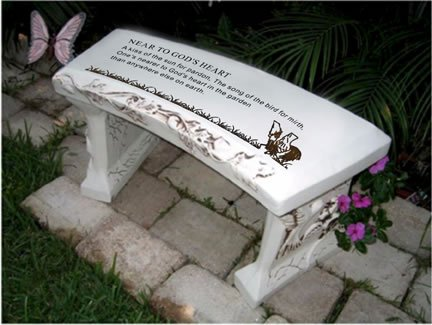 Southwest Graphix Hand Crafted 'Near to God's Heart' Cast Stone Garden Bench
