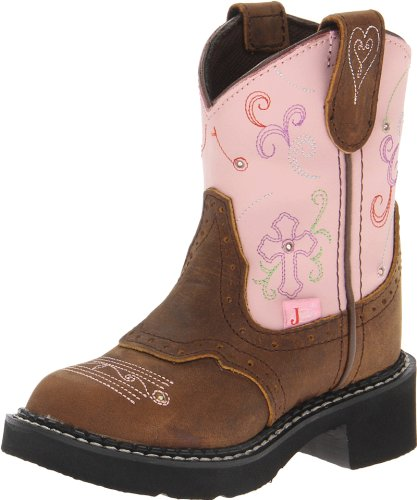 Justin Boots Gypsy with Light-Up Western Boot,Barnwood Brown Buffalo/Pink Suede,3 D US Little Kid -