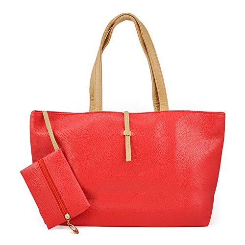 SODIAL(R) - Bolso de tela para mujer negro negro rojo - rojo
