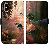 Liili Premium iPhone X Flip Micro Fabric Wallet Case Image ID: 28921346 3D Computer Graphics of a Fairy and Flying Butterflies