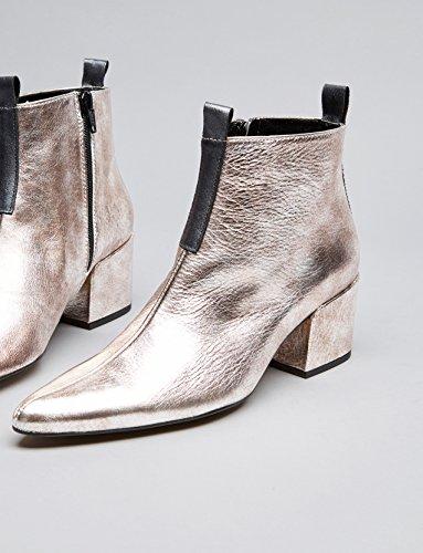 Silber Ankle Blockabsatz mit Damen Boots Silver FIND I5awXqxw