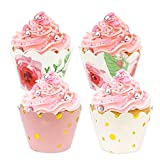 BAKHUK 48 Pack Floral Cupcake Wrappers, Pink and Gold Party Supplies for Wedding Birthday Baby Shower Party Supplies Decorations