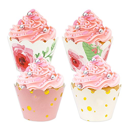 BAKHUK 48 Pack Floral Cupcake Wrappers, Baby Shower Decorations for a Girl, Pink and Gold Party Supplies for Wedding Party Birthday -