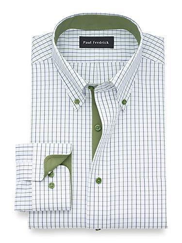 Paul Fredrick Men's Classic Fit Non-Iron Cotton Check Dress Shirt