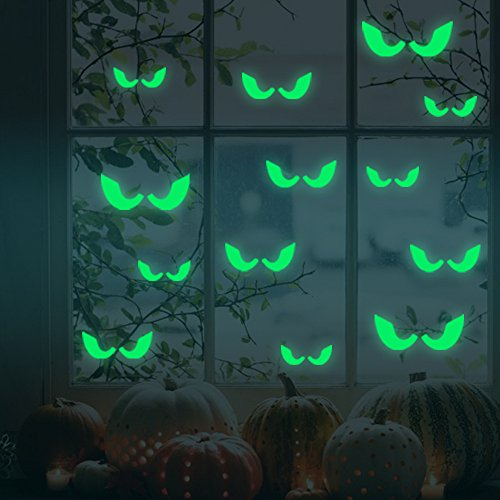 Wall Art - Honana Dx-166 18pcs Halloween Fluorescent Glow Furtive Eyes Wall Sticker Home Bedroom Decor - Halloween Decorations Wall Decals Cute Stickers Home - Glow In The Dark Nursery (Homemade Halloween Decoration Ideas Inside)
