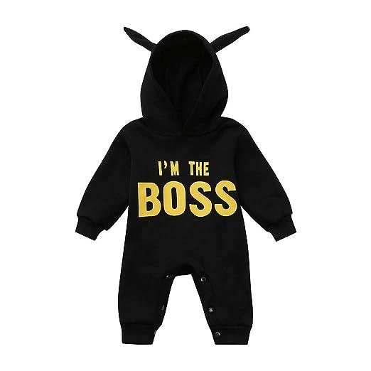 d9c4dea305b8 GoodLock Baby Boys Jumpsuits Toddler Kids Letter Hoodie Outfits Clothes  Rompers Jumpsuits (Black