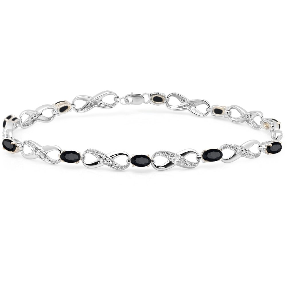 Sterling Silver Black Sapphire & White Diamond Ladies Infinity Link Tennis Bracelet (8 Inch)
