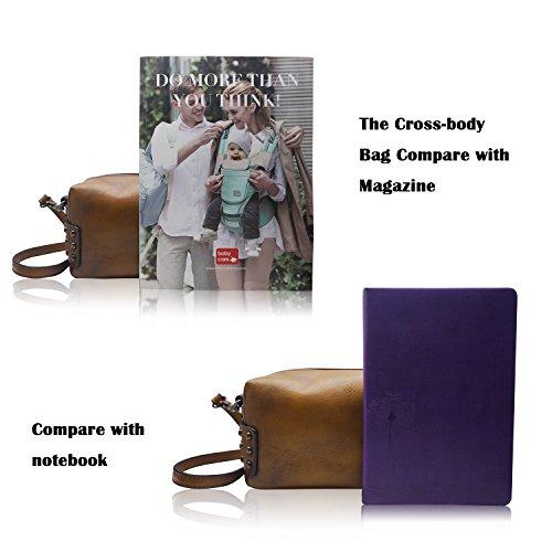 la bandoulière à Dye Messenger Dip en cuir véritable à Dames Femmes main Marron Sac LETEULO qwt8g8