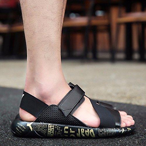 Sommer Männer Trend Der neue Schüler Sandalen Jugend Freizeit Rutschfeste Strand Sandalen Schuh, schwarz, UK = 7, EU = 40 2/3