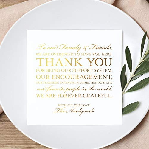 Bliss Collections Wedding Thank You Place Setting Table Cards in REAL GOLD FOIL -Great Addition to Your Centerpiece Decor or Wedding Decorations for Reception, Pack of 50, 5x5 Design