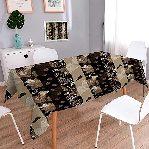 PINAFORE HOME Harmony Scroll Tablecloth Seamless Coffee Collage Imitation Scrapbooking Summer & Outdoor Picnics/W50 x L102 Inch