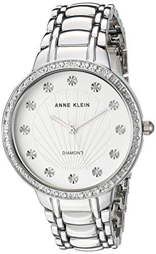 Anne Klein Women's AK/2781SVSV Diamond-Accented Silver-Tone Bracelet (Case Pave Diamond Dial)